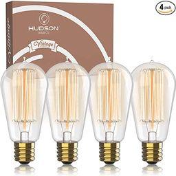 Antique Vintage Edison Bulb 4 Pack - 60 watt - Hudson Lighting 60 watt Vintage Light Bulb - ST58 ... | Amazon (US)