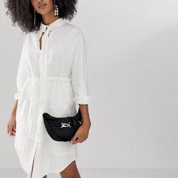 ASOS WHITE longline shirt dress with belt | ASOS (Global)
