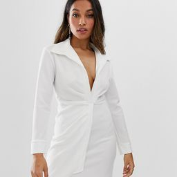 ASOS DESIGN petite sexy drape bodycon shirt dress-White | ASOS (Global)