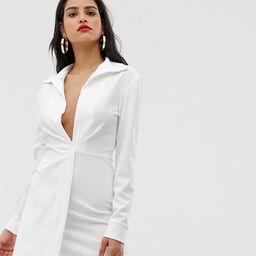 ASOS DESIGN Tall sexy drape bodycon shirt dress-White | ASOS (Global)