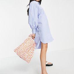 ASOS DESIGN oversized boyfriend mini shirt dress in white blue stripe-Multi | ASOS (Global)