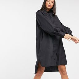 ASOS DESIGN Tall cotton poplin oversized boyfriend mini shirt dress in black | ASOS (Global)