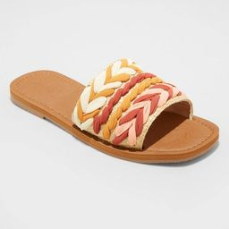 Women's Eve Square Toe Raffia Slide Sandals - Universal Thread™   Target