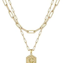 M MOOHAM Dainty Layered Initial Necklaces for Women, 14K Gold Plated Paperclip Chain Necklace Sim... | Amazon (US)