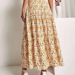 SBetro Elastic Waist Split Thigh Floral Skirt | SHEIN