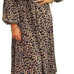 KIRUNDO 2021 Women's Midi Leopard Dress Stylish Long Sleeves High Waist Dress Button Front Draw... | Amazon (US)