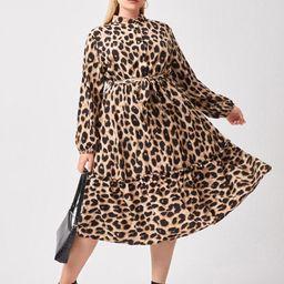 Plus Button Half Leopard Print Belted Dress | SHEIN