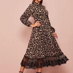 SHEIN Collared Lace Hem Leopard Dress | SHEIN