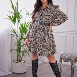 Plus Leopard Print Ruffle Trim Dress Without Belted | SHEIN