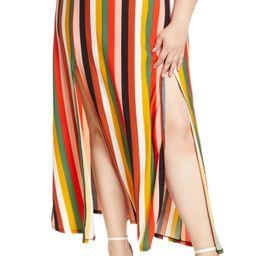 Plus Size Women's Eloquii Stripe Side Slit Maxi Skirt, Size 26W - Brown | Nordstrom