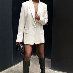 Monica Oversized Blazer - Cream | MESHKI US