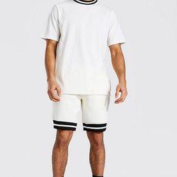 Contrast Rib T-shirt & Short Set | boohooMAN (DE, IE & UK)