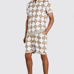 Tall Knitted Revere Printed Polo & Short Set | boohooMAN (DE, IE & UK)