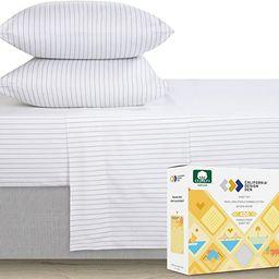 Premium 400-Thread-Count 100% Natural Cotton Sheets - 3-Piece Pinstripe Light Grey Twin XL Sheet ... | Amazon (US)