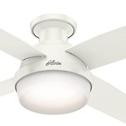 Hunter Dempsey Indoor Low Profile Ceiling Fan with LED Light and Remote Control, 44 Inch , White | Amazon (US)
