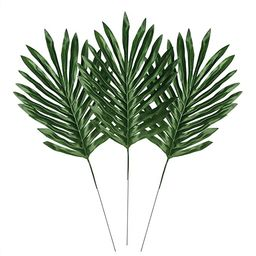 LEAFBABY 24 PCS Artificial Fake Lifelike Simulation Tropical Palm Leaves for Home Kitchen Party D... | Amazon (US)