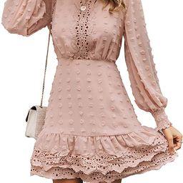 MsLure Women's Elegant Lace Chiffon Mini Dress Lantern Sleeve Ruffle Hem Party Dress   Amazon (US)