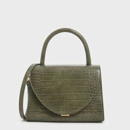 Croc-Effect Structured Top Handle Bag | CHARLES & KEITH (US)