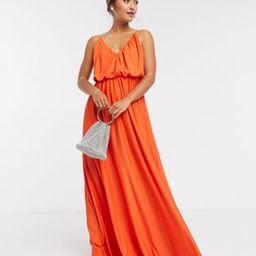 ASOS DESIGN cami plunge maxi dress with blouson top in orange | ASOS (Global)