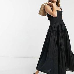 ASOS DESIGN cami midi sundress with raw edges in black | ASOS (Global)