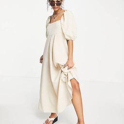 ASOS DESIGN trapeze maxi dress in beige gingham | ASOS (Global)