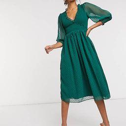 ASOS DESIGN shirred dobby midi dress in forest green   ASOS (Global)