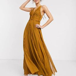 ASOS DESIGN ruched bodice soft cami maxi dress with raw edge detail | ASOS (Global)