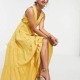 Traffic People tiered maxi dress in yellow | ASOS (Global)