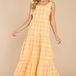 Sunny Strolls Yellow And Pink Gingham Maxi Dress   Red Dress