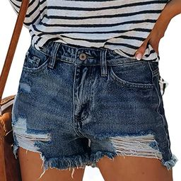 Govc Womens Summer Casual High Rise Ripped Frayed Raw Stretchy Denim Jean Shorts | Amazon (US)