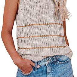 Grforclo Women's Summer Knit Striped Colorblock Tank Tops Sleeveless High Neck Crochet Knit Tunic... | Amazon (US)