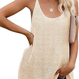 Women Oversize Scoop Neck Tank Tops Causal Sleeveless Knit Shirts Tunic Camis Loose Fashion Summe... | Amazon (US)