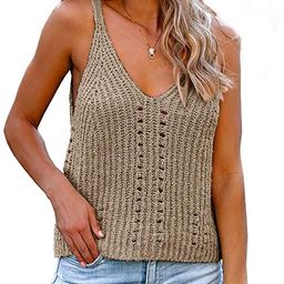 Flawerwumen Womens V Neck Tank Tops Sweater Vest Knit Sleeveless Strappy Casual Sheer Pullover Sw... | Amazon (US)