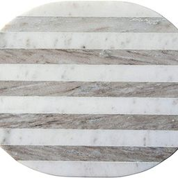 Creative Co-Op Oval Grey & White Striped Marble Cheese/Cutting Board, Grey   Amazon (US)
