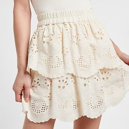 High Waisted Eyelet Lace Pull-On Mini Skirt   Express