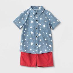 Toddler Boys' Americana Star Print Woven Chambray Short Sleeve Shirt and Pull-On Shorts Set - Cat... | Target