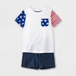 Toddler Boys' Americana Flag Short Sleeve T-Shirt and French Terry Pull-On Shorts Set - Cat & Jac... | Target
