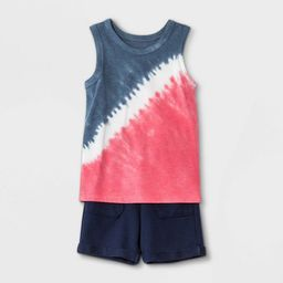 Toddler Boys' Americana Tie-Dye Tank Top and French Terry Pull-On Shorts Set - Cat & Jack™ Navy | Target