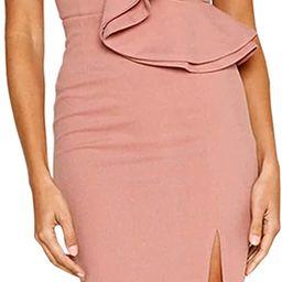 ECOWISH Women's Dresses Sexy Ruffle One Shoulder Sleeveless Split Bodycon Midi Party Dress   Amazon (US)