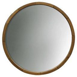 Round Decorative Wall Mirror Wood Barrel Frame - Threshold™ | Target