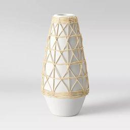 "12"" x 6"" Rattan Ceramic Vase White - Opalhouse™ | Target"