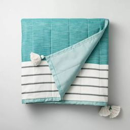 Bold Stripe Outdoor/Picnic Throw Blanket Teal - Hearth & Hand™ with Magnolia | Target