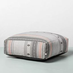 Decorative Ticking Stripe Outdoor Floor Cushion Black/Pink - Hearth & Hand™ with Magnolia | Target