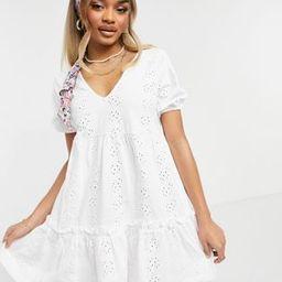 ASOS DESIGN Petite eyelet v neck smock dress with puff sleeve in white | ASOS (Global)