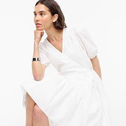 Puff-sleeve cotton poplin wrap dress | J.Crew US