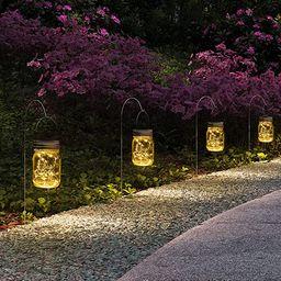 GIGALUMI Hanging Solar Mason Jar Lights, 6 Pack 30 Led String Fairy lights Solar Lanterns Table L... | Amazon (US)