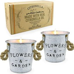Citronella Scented Candles,13.5 Oz Soy Wax Bucket Candles Flower Pot Travel Tin Aromatherapy Cand... | Amazon (US)