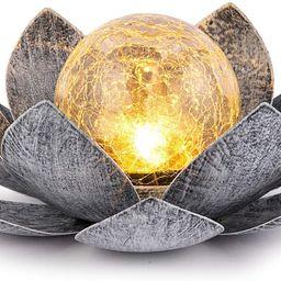 Huaxu Garden Solar Light Outdoor, Amber Crackle Globe Glass Lotus Decoration, Waterproof Gray Met... | Amazon (US)