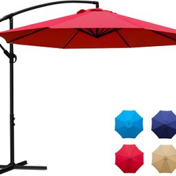 Sunnyglade 10Ft Outdoor Adjustable Offset Cantilever Hanging Patio Umbrella (Red) | Amazon (US)