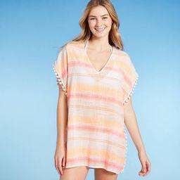 Juniors' Pom Pom Trim Cover Up Dress - Xhilaration™ Fresh White Stripe | Target